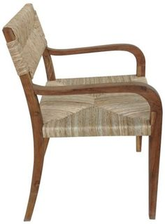 """Set of Two 38"""" H Arm Chair Teak Sea Grass Seat Back Rustic Light Brown Rugged GM 