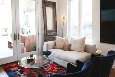AMERICAN DREAM BUILDERS - Modular Home - AFTER - Living Room - Designed by Lukas Machnik and Erin - all white pallet with the pop of color from the Moroccan rug, it works SOOOO GOOD! #DreamBuilders @American Dream Builders @Nate Berkus www.LukasMachnik.com