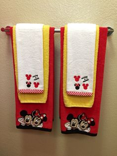 Mickey and Minnie Mouse towels