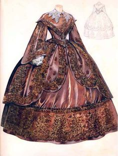 Note the wide collar and fan front bodice from the 1850s... if I were older, I could wear this.    Watercolor of a dress ca. 1850's, unknown source