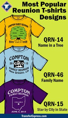 df87cfd1 Here are our three most popular designs for matching family reunion T-shirts!  More · Custom Screen Printing
