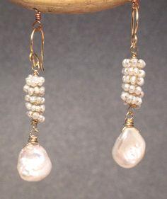 Wire work earrings - Clusters of ivory pearls