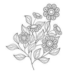Flores contornos monocromos