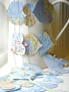 Things you can make with old maps. DIY ideas for old maps. Creative ways to use old maps in crafts and art. Map Crafts, Diy And Crafts, Arts And Crafts, Crafts With Maps, Room Crafts, Handmade Crafts, Handmade Rugs, Travel Scrapbook Pages, Heart Map