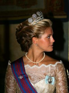 PRINCESS MADELEINE OF SWEDEN~ wearing the Five Button Tiara