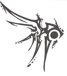 another tribal wing Tattoo Sketches, Tattoo Drawings, Cool Drawings, Art Sketches, Cool Symbols, Magic Symbols, Tribal Tattoos, Body Art Tattoos, Tribal Wings