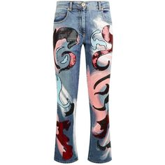 Versace Donna Sequin Embellished Jeans ($1,625) ❤ liked on Polyvore featuring jeans, versace, sequined jeans, versace jeans, 5 pocket jeans and rivet jeans