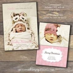 Christmas Card- Birth Announcement DIY Printable or Printed by ModernWhimsyDesign, $16.00