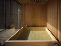 Japanese interior design - Timber bath by Japanese architecture firm official – Japanese interior design Japanese Modern, Japanese House, Modern Japanese Architecture, Japanese Sauna, Japanese Soaking Tubs, Japanese Minimalism, Sustainable Architecture, Japanese Style, Japanese Interior Design