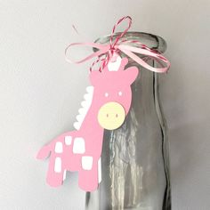 Pink Giraffe gift tags / favor tags. Baby shower by MyPaperPlanet