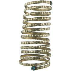 ROMINA Spiral Cuff Bracelet ($35) ❤ liked on Polyvore featuring jewelry, bracelets, snake jewelry, golden jewelry, cuff bracelet, snake bangle and spiral jewelry