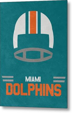 Dolphins Metal Print featuring the mixed media Miami Dolphins Vintage Art by Joe…