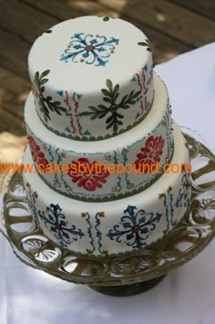 Mexican tile wedding cake.  This is so pretty.