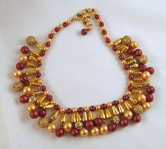 Beaded Collar Necklace Egyptian Revival by GrapenutGlitzJewelry
