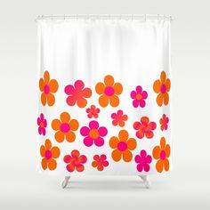Pretty hot pink and orange floral shower curtain. White space allows for DIY edging and fancy shower curtain hooks. Design can also fully cover curtain if desired.