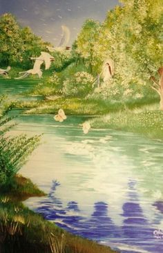 """Beren and Lúthien Dwell in Tol Galen by Joseph Olonia. """"Then Beren and Lúthien went forth alone, fearing neither thirst nor hunger; and they passed beyond the River Gelion into Ossiriand, and dwelt there in Tol Galen the green isle, in the midst of Adurant, until all tidings of them ceased. The Eldar afterwards called that country Dor Firn-i-Guinar, the Land of the Dead that Live; and there was born Dior Aranel the beautiful, who was after known as Dior Eluchíl, which is Thingol's Heir. No…"""
