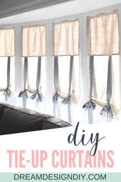 Buying ready-made window treatments can be expensive. Make these DIY tie up shades and custom make them to fit any window. These shades are easy to make and forgiving for the beginning sewer, needing only a straight seam. Home Crafts, Diy Home Decor, Tie Up Curtains, Tie Up Shades, Curtain Tutorial, Diy Porch, Porch Decorating, Interior Decorating, Diy House Projects