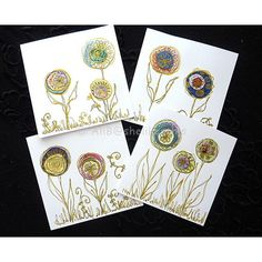 Handmade original flower art cards blank greeting cards with envelopes ($6.62) ❤ liked on Polyvore featuring home, home decor and stationery