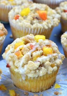 Peach Crumb Muffins are fluffy homemade muffins perfect for breakfasts and snacks. Moist and flavorful muffins loaded with fresh summery peaches, cinnamon Best Muffin Recipe, Simple Muffin Recipe, Muffin Recipes, Peach Muffins, Lemon Blueberry Muffins, Breakfast Muffins, Bread Cake, Dessert Bread, Fun Desserts