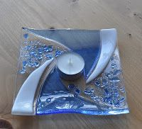 Lovely fused glass dish for a votive.