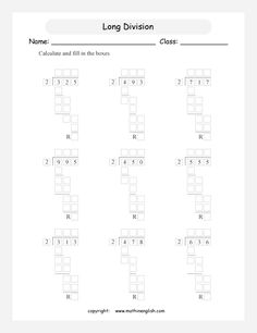 Divide 3 digit numbers by using the long division method.Free math learning material for advanced students or for extra practice and tutorial purposes. Print, complete and master math! Long Division Worksheets, Grade 6 Math Worksheets, Homeschool Worksheets, Teaching Division, Teaching Math, Fourth Grade Math, First Grade Math, Math Drills, Singapore Math