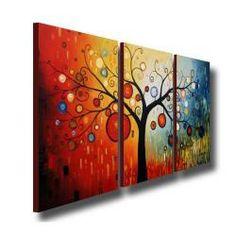 'Life Tree V' Oil Paint 3-piece Canvas Art Set