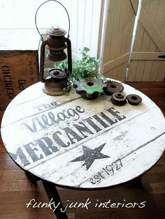 Love the look of vintage signs? Makeover a table with a sign-inspired stencil.