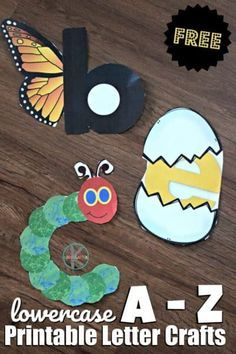 Super cute FREE printable alphabet craft ideas for kids are are no prep! Just print the letter craft you want to make - color cut and paste together! Perfect for toddler preschool prek and kindergarten age kids Alphabet Letter Crafts, Abc Crafts, Preschool Letters, Kindergarten Crafts, Learning Letters, Toddler Crafts, Preschool Activities, Crafts For Kids, Toddler Preschool