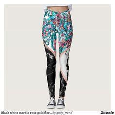 Black white marble rose gold floral color block leggings