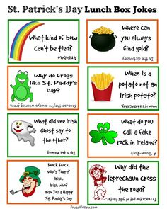 Patrick's Day Kids Lunch Box Jokes Free Printable St. Patrick's Day Kids Lunch Box Jokes – a set of fun kids jokes for St. Patrick's Day, print on cardstock and add them to their lunch box. St Patricks Day Jokes, St Patricks Day Crafts For Kids, St Patrick's Day Crafts, Saint Patricks, St Patricks Day History, March Crafts, Kids Crafts, Simply Yummy, St Patrick Day Activities