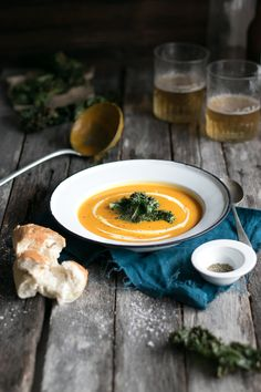 Butternut and Apple Soup With Salt and Vinegar Kale Chips | The Luminous Kitchen
