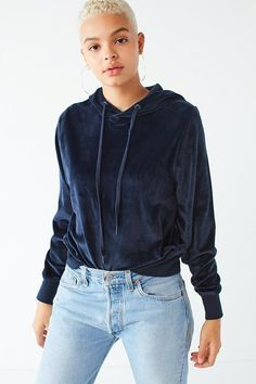 Urban Outfitters UO Easy Does It Velour Hoodie Sweatshirt Minimal Fashion New york fashion #newyork #minimal  #fashion