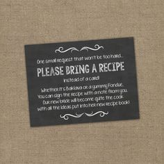 please bring a recipe instead of a card insert for bridal shower invitations cookbook gift idea with rustic chalkboard burlap theme diy