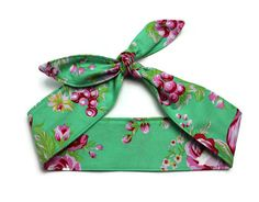 Pinup Hair Accessory Rosie Wrap Green Pink by BlackCatStitches