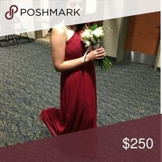 Selling this A lovely Red Lace One-Shoulder on left side on Poshmark! My username is: x_crystal. #shopmycloset #poshmark #fashion #shopping #style #forsale #David's Bridal #Dresses & Skirts