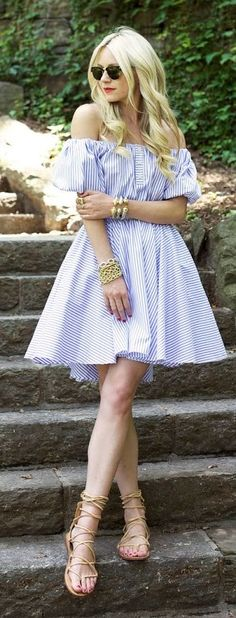 Pinstriped Strapless Skater Dress by Atlantic - Pacific