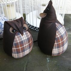 Wax Cotton Giant Doormice and Owl Doorstops - Folksy Owl Doorstop, Doorstop Pattern, Owl Sewing, Sewing Toys, Check Fabric, Fabric Toys, Creation Couture, Navy And Brown, Door Stop