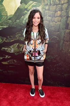 Fashion moments from The Jungle Book premiere red carpet   Jenna Ortega   [ https://style.disney.com/entertainment/2016/04/05/fashion-moments-from-the-jungle-book-premiere/#lupita%20nyongo ]