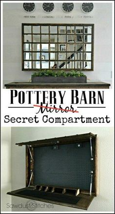 Part 1 It is a SECRET compartment. The fact that it is hidden and requires knowledge on how to open it is what makes this work. Gun Safe Diy, Hidden Gun Cabinets, Secret Compartment Furniture, Hidden Gun Storage, Wood Shop Projects, Diy Projects, Fireplace Bookshelves, Gun Rooms, Hidden Compartments
