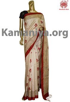 Description: This is a Handblock printed gachi Tussar silk saree with kantha work on the border. The Mannequin is wearing a blouse from our stylist's collection. Code No: S/DAD32 Visit our Website: http://kamaniya.org/