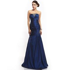 Sapphire Blue Taffeta Prom Dress With Stone Details And Mermaid Skirt