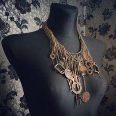 #handmade #oldstuff #necklace #rust, #tRUST #bottlecaps #keys