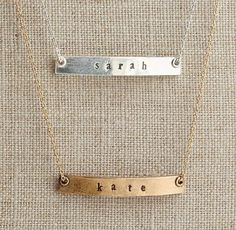 """Personalized 18"""" Petite Bar Necklace. with masons name"""