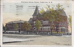 Provincial Normal School, Fredericton, NB:  Amelia's cards were graciously donated to the museum by her granddaughter, Sylvie Duquette of Lacolle, Québec. They were sent our way because of their historical link of Oromocto.   These records can be viewed at the New Brunswick Provincial Archives. They are catalogued in the York Sunbury Historical Society Collection (MC300-MS126). The correspondences on the back of the postcards have been posted on the Fredericton Region Museum Facebook page. Normal School, New Brunswick, Historical Society, Quebec, Amelia, Postcards, Museum, Canada, York