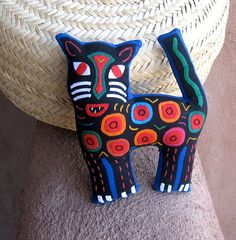 Stellar Mola Spotted Cat  Hand Stitched Kuna Indian by molamama, $26.50