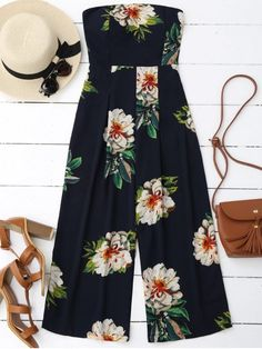 Shop for Floral Print Padded Bandeau Cropped Jumpsuit PURPLISH BLUE: Jumpsuits & Rompers M at ZAFUL. Only $22.95 and free shipping!