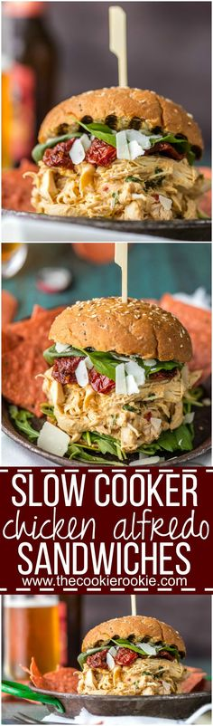 Slow Cooker Chicken Alfredo Sandwiches