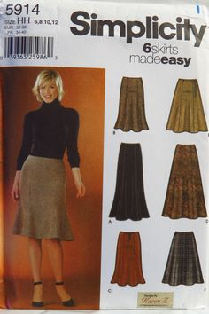 Simplicity 5914 Misses' Skirts Each in Two Lengths