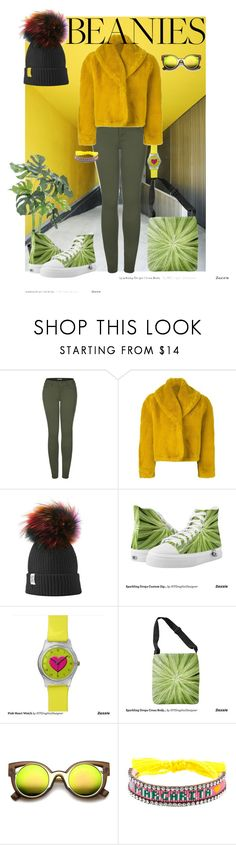 """""""Hat Head: Pom Pom Beanies"""" by west-815 ❤ liked on Polyvore featuring 2LUV, Jean-Paul Gaultier, Zipz, ZeroUV, Shourouk, yellow, GREEN and pompombeanies"""