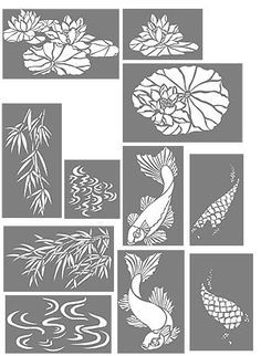 Here are the Koi Stencils For my new bathroom wall treatment. Going to look fabulous with the koi sink. Fish Stencil, Stencils, Stencil Art, Damask Stencil, Stencil Patterns, Stencil Designs, Mosaic Patterns, Kirigami, Inkscape Tutorials